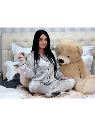 Pijama Luxury din Satin Gri cu vipusca neagra cod PJS7